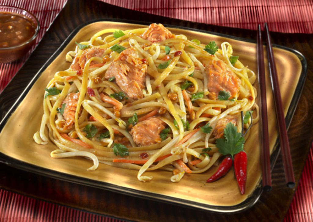 Thai noodle soup with salmon